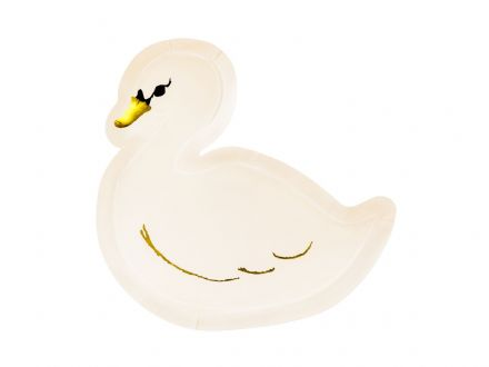 Swan Shaped Paper Plates x6